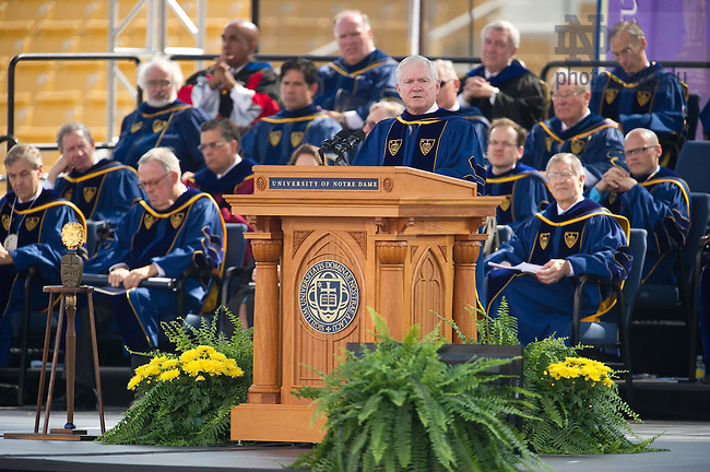 May 22, 2011; U.S. Secretary of Defense Robert Gates delivers the Commencement address at Notre Dame Stadium...Photo by Matt Cashore/University of Notre Dame