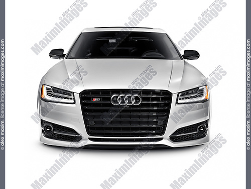 Silver 2016 Audi S8 Plus Sedan luxury car front view isolated on white background with clipping path