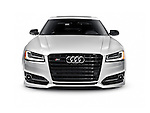 Silver 2016 Audi S8 Plus Sedan luxury car front view isolated on white background with clipping path Image © MaximImages, License at https://www.maximimages.com