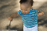 12 month old toddler boy outside walking holding stick and leaf exploring horizontal