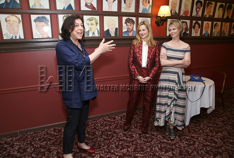 Lynne Meadow, Laura Linney and Cynthia Nixon attend the portrait unveilings of Laura Linney and Cynthia Nixon starring on Broadway in the Manhattan Theatre Club's THE LITTLE FOXES, at Sardi's on June 29, 2017 in New York City.