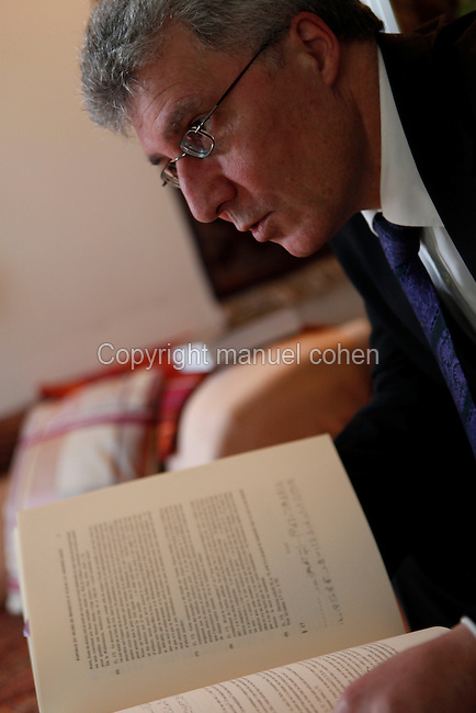"French Egyptologist Sydney Aufrere, Professor at CNRS (Centre National de la Recherche Scientifique), member of the Centre Paul-Albert Février (Université de Provence-UMR 6125 du CNRS) at his residence in Montpellier on March 11, 2009. His latest book is ""L'Odyssée d'Aigyptos. Le sceptre et le spectre"" (The Odyssey of Aigyptos. The sceptre and the spectre),  Pages du Monde, 2007. Picture by Manuel Cohen"