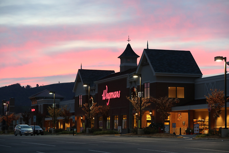 Wegmans sun rise at the Fifth 5th Street Station shopping center in Charlottesville, Va. Photo/Andrew Shurtleff Photography, LLC