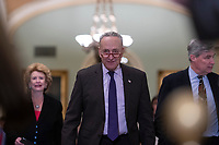 Senate Minority Leader Chuck Schumer, Democrat of New York, walks to the podium for a press conference following a Democratic Caucus lunch on Capitol Hill in Washington, D.C. on March 12, 2019. Credit: Alex Edelman / CNP/AdMedia