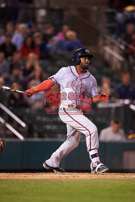 Syracuse Chiefs left fielder Brian Goodwin (15) at bat during a game against the Rochester Red Wings on July 1, 2016 at Frontier Field in Rochester, New York.  Rochester defeated Syracuse 5-3.  (Mike Janes/Four Seam Images)