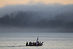 Canoe Journey, Paddle to Nisqually, 2016, Northwest tribal canoes paddling at sunrise, Salish Sea, Port Townsend, Olympic Peninsula, Puget Sound, Washington State, USA, tradition, history, tribal gatherings, Indian, canoes,