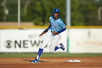 Burle Dixon (12) of the Burlington Royals rounds second base during the game against the Danville Braves at Burlington Athletic Stadium on August 9, 2019 in Burlington, North Carolina. The Royals defeated the Braves 6-0. (Brian Westerholt/Four Seam Images)