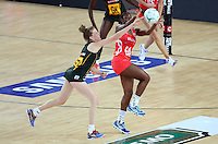 04.09.2016 England's Kadeen Corbin and South Africa's Karla Mostert in action during the Netball Quad Series match between England and South Africa played at Margaret Court Arena in Melbourne. Mandatory Photo Credit ©Michael Bradley.