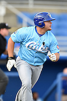 Daytona Cubs first baseman Dan Vogelbach (4) runs to first during a game against the Dunedin Blue Jays on April 14, 2014 at Florida Auto Exchange Stadium in Dunedin, Florida.  Dunedin defeated Daytona 1-0  (Mike Janes/Four Seam Images)