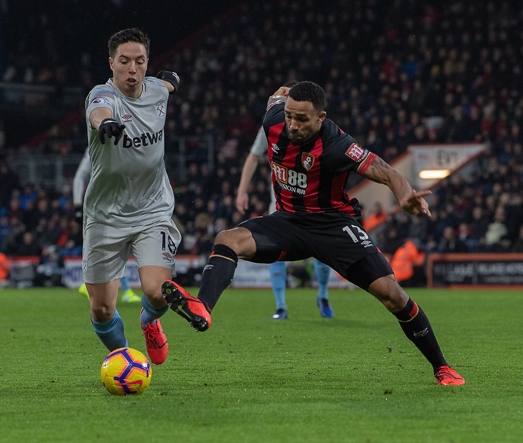 West Ham United's Samir Nasri (left) is tackled by Bournemouth's Callum Wilson (right) <br /> <br /> Photographer David Horton/CameraSport<br /> <br /> The Premier League - Bournemouth v West Ham United - Saturday 19 January 2019 - Vitality Stadium - Bournemouth<br /> <br /> World Copyright &copy; 2019 CameraSport. All rights reserved. 43 Linden Ave. Countesthorpe. Leicester. England. LE8 5PG - Tel: +44 (0) 116 277 4147 - admin@camerasport.com - www.camerasport.com