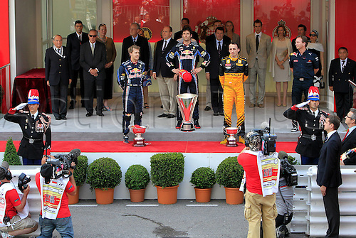 16 05 2010  Pictures Formula 1 Grand Prix from Monaco Monte Carlo.  Monaco motor racing Formula 1 Grand Prix GP from Monaco Award Ceremony Picture shows Sebastian Vettel ger,  Mark Webber of Red Bull Racing and Robert Kubica POL Renault receiving their trophies on the winners podium