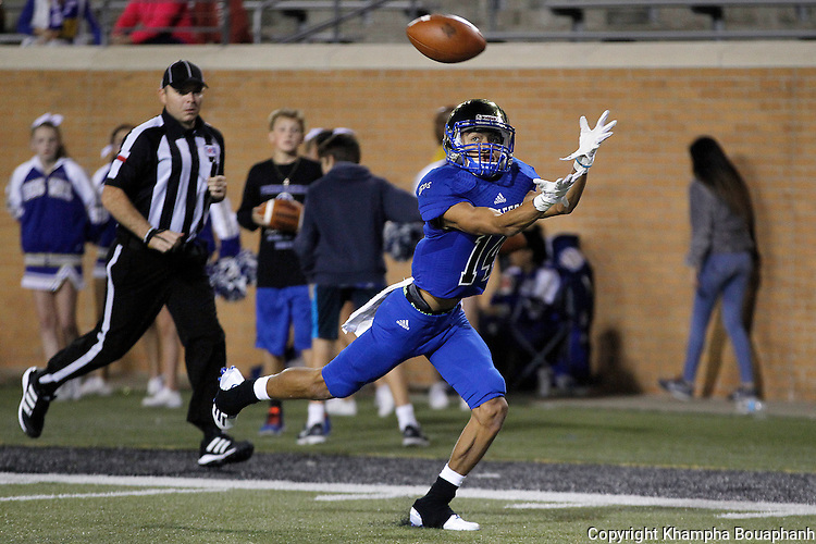 Boswell senior receiver Chris Delgado makes a 3rd quarter touchdown reception as the Pioneers defeat Denison 56-29 in high school bi-district playoff football at Apogee  Stadium in Denton on Friday, November 11, 2016.