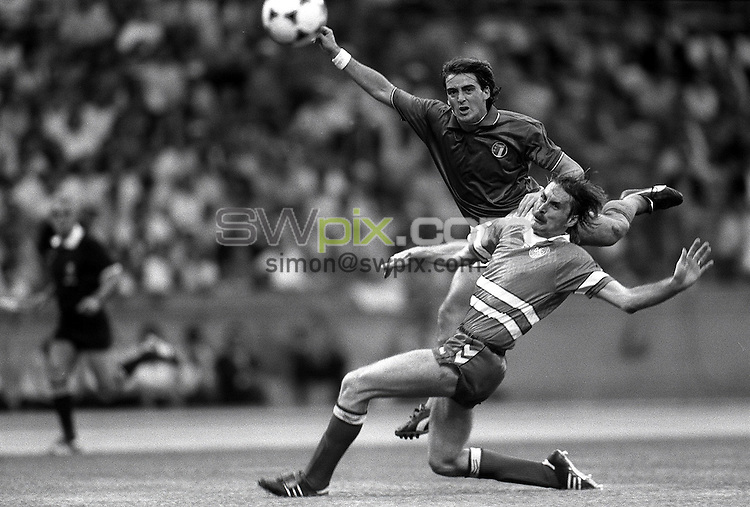 Pix:Michael Steele/SWpix...International Soccer. Italy v Denmark, European Championships, Cologne. 1988...COPYRIGHT PICTURE>>SIMON WILKINSON..Italy v Denmark.