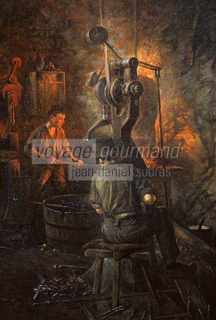 Europe/France/Auverne/63/Puy-de-Dôme/Parc Naturel Régional du Livradois-Forez/Thiers: Le musée des couteliers - Détail tableau de la forge