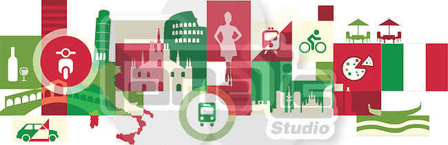 Illustrative collage of tourist attractions in Italy
