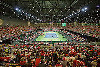 Switserland, Genève, September 19, 2015, Tennis,   Davis Cup, Switserland-Netherlands, Doubles: Overall vieuw<br />