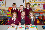 First Day<br /> ------------<br /> Girls and boys who started school in Knockaderry NS,Farronfour last Monday were,front, L-R Melanie Sheehan,Sinead Galvin&amp;Sadhbh Scully,back L-R Diarmuid Casey,Kai O'Sullivan&amp; Sean go O'Leary/Griffin