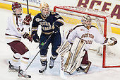 Chris Calnan (BC - 11), David Gerths (ND - 10), Thatcher Demko (BC - 30) - The visiting University of Notre Dame Fighting Irish defeated the Boston College Eagles 7-2 on Friday, March 14, 2014, in the first game of their Hockey East quarterfinals matchup at Kelley Rink in Conte Forum in Chestnut Hill, Massachusetts.