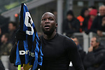 Romelu Lukaku of Inter celebrates after scoring to give the side a 4-2 lead during the Serie A match at Giuseppe Meazza, Milan. Picture date: 9th February 2020. Picture credit should read: Jonathan Moscrop/Sportimage