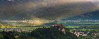 Lake Bled Castle at sunrise, Bled, Julian Alps, Gorenjska, Slovenia, Europe