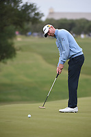 Vaughn Taylor (USA) watches his putt on 10 during Round 2 of the Valero Texas Open, AT&T Oaks Course, TPC San Antonio, San Antonio, Texas, USA. 4/20/2018.<br /> Picture: Golffile | Ken Murray<br /> <br /> <br /> All photo usage must carry mandatory copyright credit (© Golffile | Ken Murray)