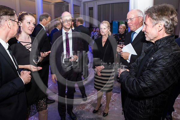 BRUSSELS - BELGIUM - 27 September 2017 -- Finland 100th Anniversary Reception and Concert of the Philharmonia Orchestra of London at the BOZAR. --(from right) Esa-Pekka Salonen, Conductor of the Philharmonia Orchestra of London; Mr. & Mrs. Jan Store, Managing Director of Milton Brussels; Ulrich Hauschild, Director of BOZAR MUSIC; Mrs & Mr. Timo Ranta, Ambassador of Finland to Belgium. -- PHOTO: Juha ROININEN / EUP-IMAGES