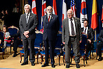 Peter Higgs (R), François Englert and Rolf Heuer (L) receive the Prince of Asturias Award for Technical & Scientific Research during the 2013 Prince of Asturias Awards ceremony at the Campoamor Theater in Oviedo, Spain. October 25, 2013..(ALTERPHOTOS/Victor Blanco)