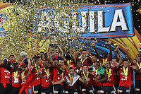 MEDELLÍN -COLOMBIA-19-JUNIO-2016.Jugadores  del Deportivo Independiente  Medellín levantan el trofeo de campeones de la Liga Aguila 2016   durante partido por la final vuelta de la Liga Águila I 2016 jugado en el estadio Atanasio Girardot ./ Deportivo Independiente Medellin  players celebrate with the  trophy after they won the 2016 I Liga Aguila  final football match between Independiente Medellin and Atletico Junior during the match for final the Aguila League I 2016 played at Atanasio Girardot  stadium in Medellin . Photo: VizzorImage / Felipe Caicedo  / Staff