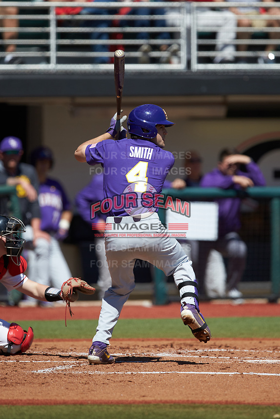 Josh Smith (4) of the LSU Tigers at bat against the Georgia Bulldogs at Foley Field on March 23, 2019 in Athens, Georgia. The Bulldogs defeated the Tigers 2-0. (Brian Westerholt/Four Seam Images)