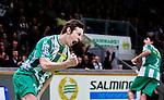 Stockholm 2014-12-03 Handboll Elitserien Hammarby IF - IFK Sk&ouml;vde :  <br /> Hammarbys Johan Szybanow  jublar efter ett av sina m&aring;l under matchen mellan Hammarby IF och IFK Sk&ouml;vde <br /> (Foto: Kenta J&ouml;nsson) Nyckelord:  Eriksdalshallen Hammarby HIF Bajen IFK Lugi jubel gl&auml;dje lycka glad happy