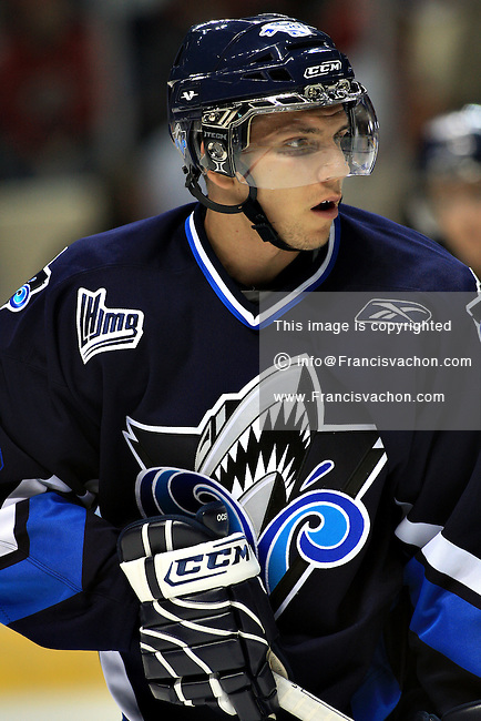 QMJHL (LHJMQ) hockey player profile photo on Rimouski Oceanic Frederic Desrochers September 19, 2008 at the Colisee Pepsi in Quebec city.