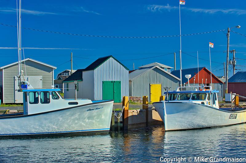 Fishing boats in coastal village<br />Cape Bear<br />Prince Edward Island<br />Canada