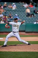 Ian Krol (19) of the Salt Lake Bees delivers a pitch to the plate against the Albuquerque Isotopes at Smith's Ballpark on April 22, 2018 in Salt Lake City, Utah. The Bees defeated the Isotopes 11-9. (Stephen Smith/Four Seam Images)