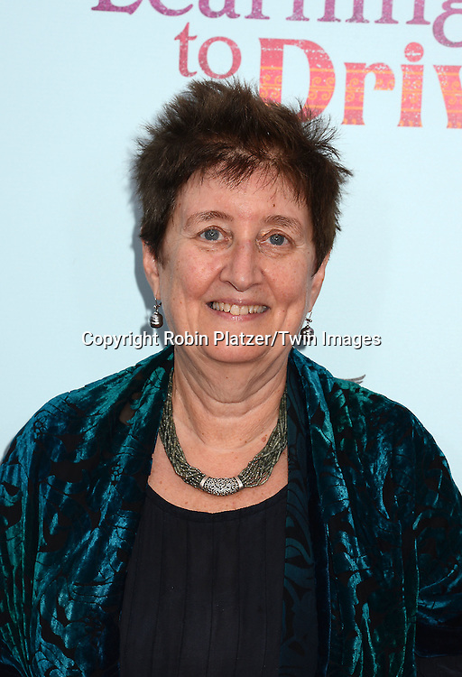 Author Katha Pollitt attends the NewYork VIP Premiere of &quot;Learning to Drive&quot;<br /> on August 17, 2015 at The Paris Theatre in New York City, New York, USA. <br /> <br /> photo by Robin Platzer/Twin Images<br />  <br /> phone number 212-935-0770