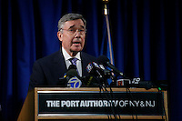 New York City, NY. 11 October 2014. Gil Kerlikowske Commissioner U.S. Customs and Border Protection speaks during a press conference at JFK airport.The Ebola screening program will start today in NYC