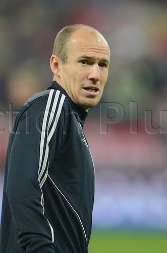 02.04.2013. Munich, Germany.  Munich's Arjen Robben seen during the warm up prior to the UEFA Champions League quarter final first leg soccer match between FC Bayern Munich and Juventus Turin at Munich Arena in Munich, Germany, 02 April 2013.