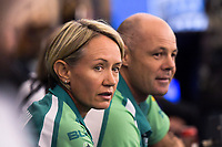 Kay Moran and Wes Falconer (Gorillas). Murray Steamers v Illawarra Gorillas preliminary final. Bowls Premier League at Naenae Bowling Club in Wellington, New Zealand on Thursay, 26 April 2018. Photo: Dave Lintott / lintottphoto.co.nz