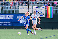 Allston, MA - Sunday, May 22, 2016: Boston Breakers midfielder McCall Zerboni (77) and FC Kansas City midfielder Mandy Laddish (7) during a regular season National Women's Soccer League (NWSL) match at Jordan Field.