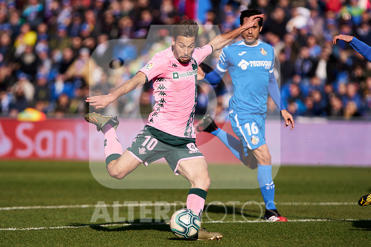Sergio Canales of Real Betis Balompie during La Liga match between Getafe CF and Real Betis Balompie at Wanda Metropolitano Stadium in Madrid, Spain. January 26, 2020. (ALTERPHOTOS/A. Perez Meca)