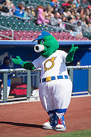 Stormy the Omaha Storm Chasers mascot before the game against the Memphis Redbirds in Pacific Coast League action at Werner Park on April 22, 2015 in Papillion, Nebraska.  (Stephen Smith/Four Seam Images)