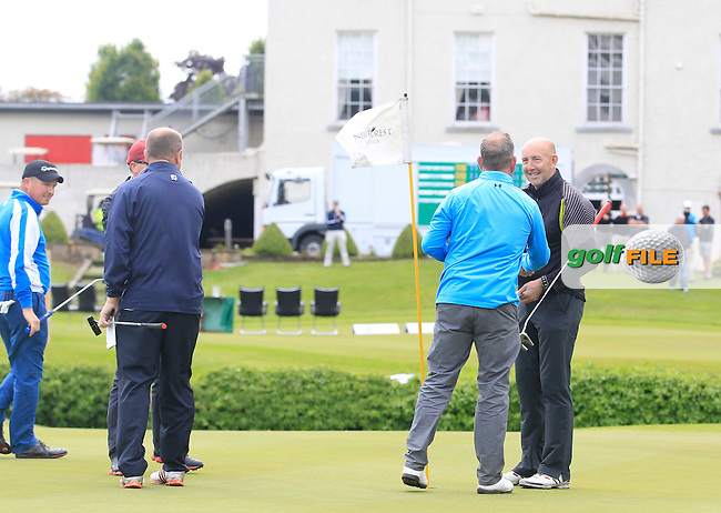 Tony McClements (Holywood) on the 18th green puts to win the Irish Mid-Amateur Open Championship at New Forest on Sunday 21st June 2015.<br /> Picture:  Thos Caffrey / www.golffile.ie