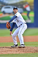 Asheville Tourists pitcher Mike Nikorak (30) delivers a pitch during a game against the Augusta GreenJackets at McCormick Field on April 7, 2019 in Asheville, North Carolina. The GreenJackets  defeated the Tourists 11-2. (Tony Farlow/Four Seam Images)
