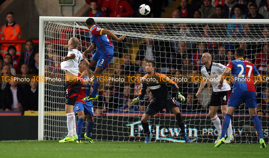 Adrian Mariappa scores the 1st goal for Crystal Palace - Crystal Palace vs Fulham, Barclays Premier League at Selhurst Park, Crystal Palace - 21/10/13 - MANDATORY CREDIT: Rob Newell/TGSPHOTO - Self billing applies where appropriate - 0845 094 6026 - contact@tgsphoto.co.uk - NO UNPAID USE