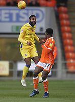 Blackpool's Marc Bola battles with Bristol Rovers' Stefan Payne<br /> <br /> Photographer Mick Walker/CameraSport<br /> <br /> The EFL Sky Bet League One - Blackpool v Bristol Rovers - Saturday 3rd November 2018 - Bloomfield Road - Blackpool<br /> <br /> World Copyright © 2018 CameraSport. All rights reserved. 43 Linden Ave. Countesthorpe. Leicester. England. LE8 5PG - Tel: +44 (0) 116 277 4147 - admin@camerasport.com - www.camerasport.com