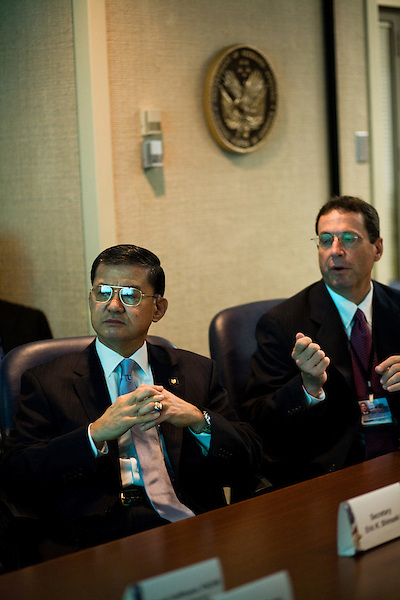 October 23, 2009. Durham, North Carolina.. Eric Shinseki, Secretary of Veterans Affairs for the Obama administration, visited Durham to meet with officials and veterans at the VA hospital, as well as to attend several events and meetings on the Duke University campus.. Sec. Shinseki, left, met with members of the VA hospital staff and administration to discuss the status and goals of the hospital.  Ralph T. Gigliotti, the director of the hospital is at his right.