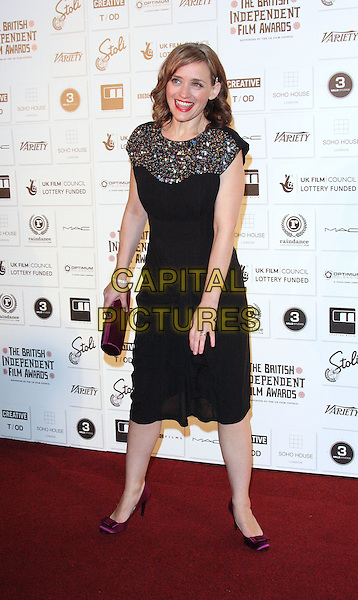 ANNE-MARIE DUFF .Attending The British Independent Film Awards,The Brewery, London, England, UK, December 6th 2009. .arrivals full length black dress gold multi-coloured sequin sequined purple silk satin shoes clutch.CAP/ROS.©Steve Ross/Capital Pictures