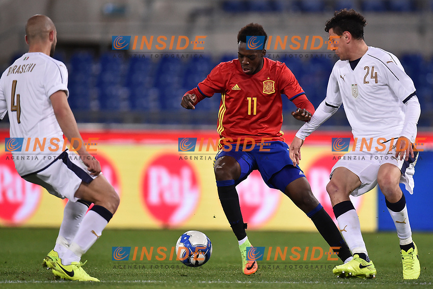 Davide Biraschi, Alex Ferrari Italia, Inaki Williams Spagna <br /> Roma 27-02-2017, Stadio Olimpico<br /> Football Friendly Match  <br /> Italy - Spain Under 21 Foto Andrea Staccioli Insidefoto