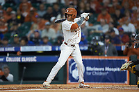 Cam Williams (55) of the Texas Longhorns at bat against the Missouri Tigers in game eight of the 2020 Shriners Hospitals for Children College Classic at Minute Maid Park on March 1, 2020 in Houston, Texas. The Tigers defeated the Longhorns 9-8. (Brian Westerholt/Four Seam Images)