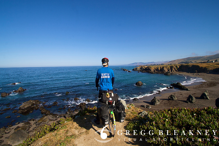 Cyclist on Pacific Coast Route - Mendocino Coast - California - USA