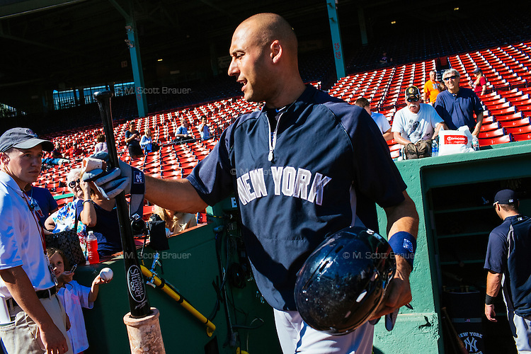 BOSTON, MASS. - SEPT. 28, 2014: Derek Jeter takes to the field for batting practice before the New York Yankees and Boston Red Sox play at Fenway Park. The game is last game of Derek Jeter's career. M. Scott Brauer for The New York Times